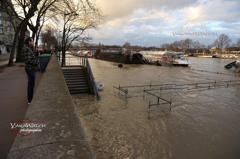 Les quais de Seine inondés, les barges immobilisées loin des quais