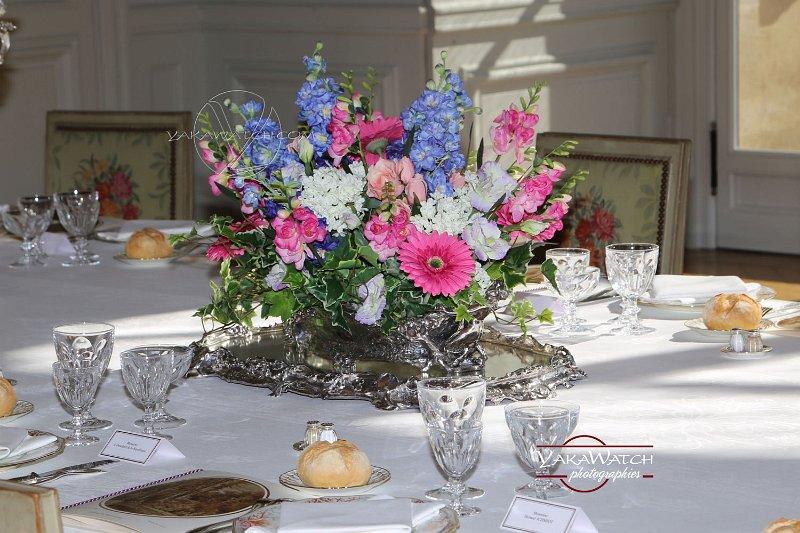 Le centre de table reconstitué par les fleuristes de l'Elysée